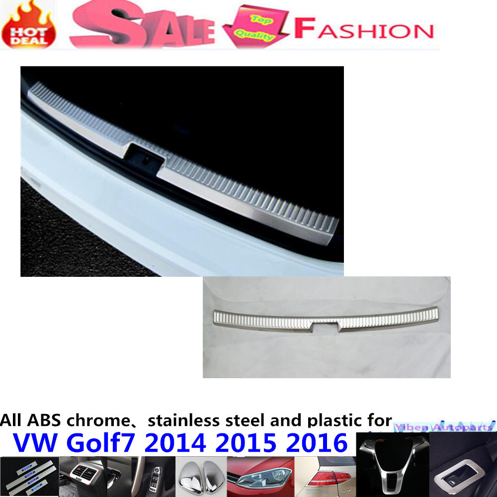 Car body inside Rear Bumper trim Stainless Steel Scuff Sill trunk plate pedal panel lamp hood for VW Golf7 Golf 7 2014 2015 2016 car rear trunk security shield cargo cover for volkswagen vw tiguan 2016 2017 2018 high qualit black beige auto accessories