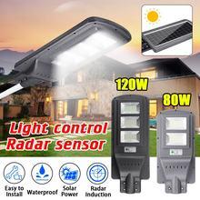 Smuxi 80 Вт/120 Вт светодиодный солнечный светильник Настенный уличный свет Сумерки до рассвета супер яркий датчик движения водонепроницаемая лампа безопасности для сада двора