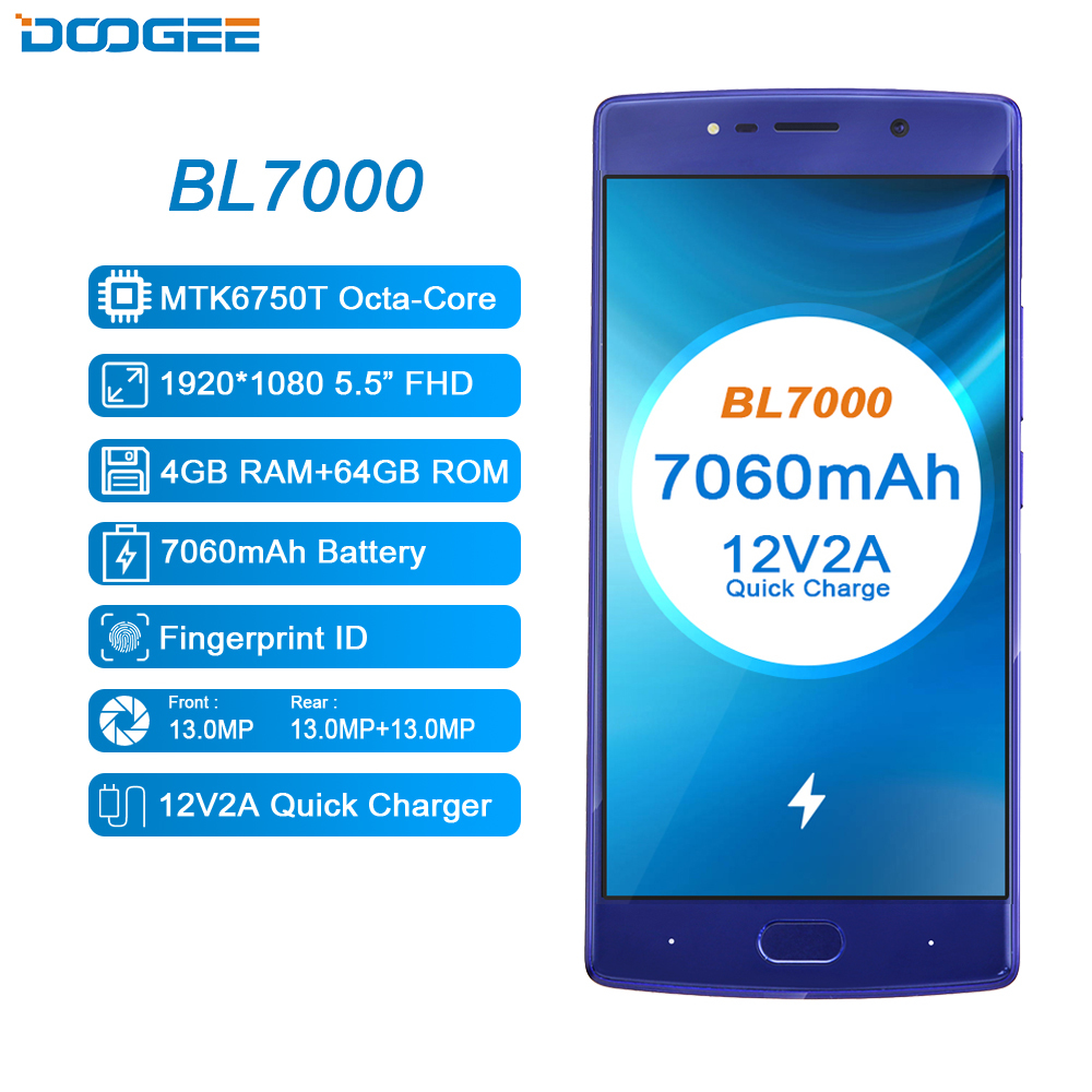 DOOGEE BL7000 4G LTE Smartphone 7060mAh MT6750T Octa Core 4GB+64GB Android 7.0 Dual Rear Camera 13.0MP 5.5 Inch Moible Phone