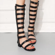 Summer Roman Sandals Fashion Women's Zipper Knee High Boots Flats Solid Color with elastic Hasp Transparent Beach Shoes(China)