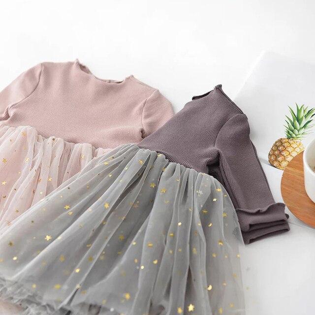 Vestido con falda de tul con estrellitas gris 2