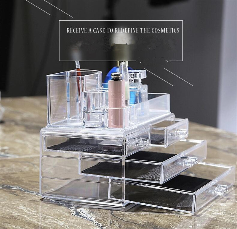 Desk Makeup <font><b>Organizer</b></font> Case Storage <font><b>Drawer</b></font> Insert Jewelry Box Holder Makeup <font><b>Organizer</b></font> Transparent <font><b>Acrylic</b></font> Cosmetic image