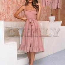 CUERLY Sleeveless ruffle elegant dress women Ruched sashes bow cotton summer midi dresses Sexy solid female pink vestidos 2019