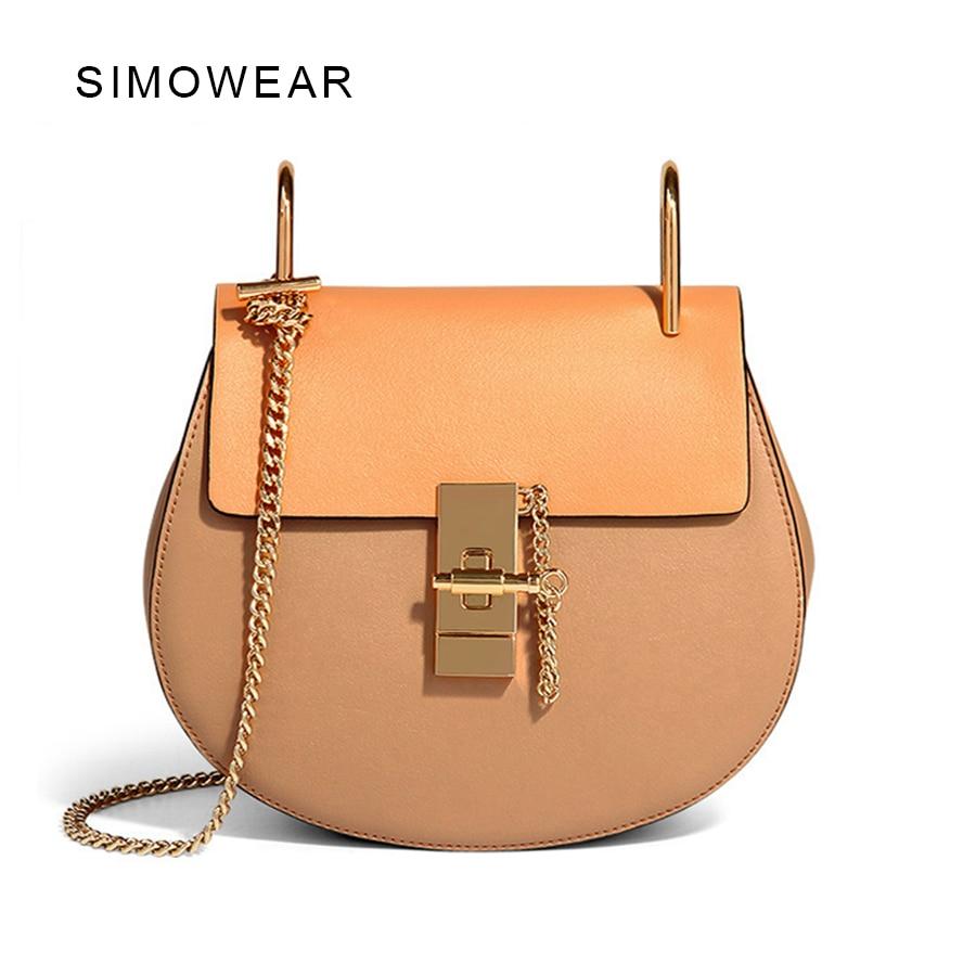 2016 Hot Sale Popular Fashion Brand Design Women Genuine Leather Bag High Quality Real Cowskin Shoulder Bag Small Chain Bag