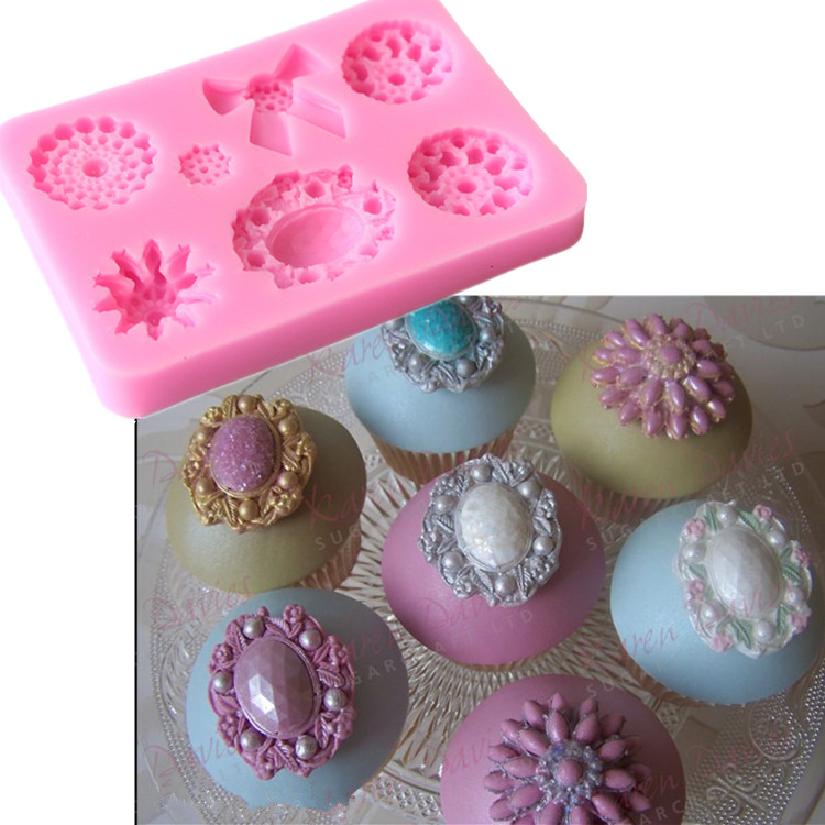 Fondant Cake Silicone Mold Jewel Box Brooch Diamond Wedding Decoration Tools Cupcake Mould Christmas Stencil