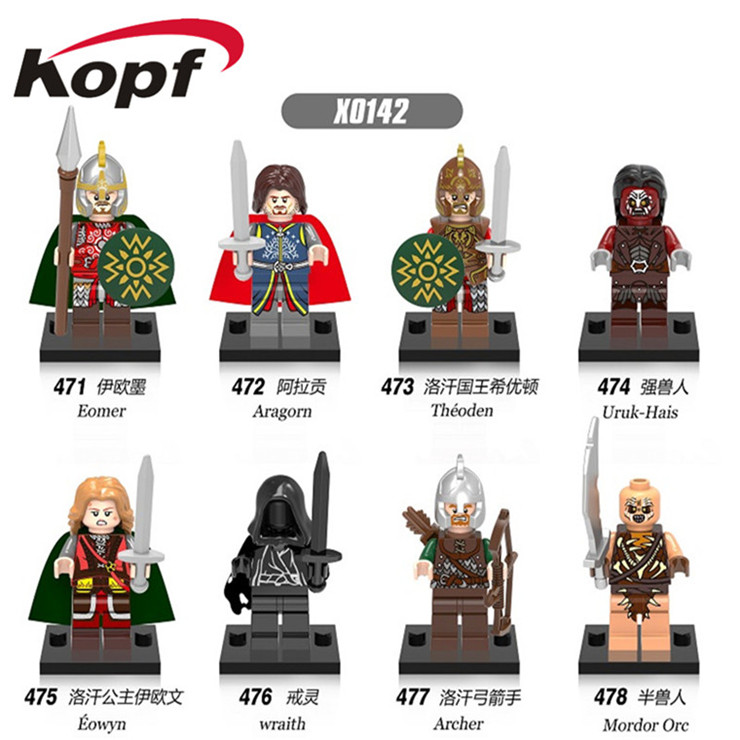 Super Heroes The Lord of the Rings Aragorn Rohan Eomer Aragorn Theoden Uruk-Hais Eowyn Wraith Building Blocks Kids Toys X0142 hot sale the hobbit lord of the rings mordor orc uruk hai aragorn rohan mirkwood elf building blocks bricks children gift toys