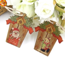 9PCS Creative House Christmas Wooden Pendants Xmas Tree Ornaments DIY Wood Crafts Home Christmas Party Decoration Kids Gift