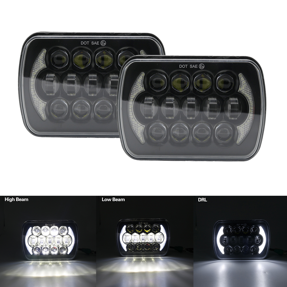 For Jeep Cherokee XJ 1984 to 2001 lamps 5x7 led truck front headlight 6x7Inch square LED