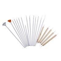 Sıcak Satış 3 Takım Tırnak Sanat Tasarım Boyama Detaylandırma Fırçalar & süsleyen Kalem Tool Kit Set-15 Fırça + 5 Süsleyen kalem