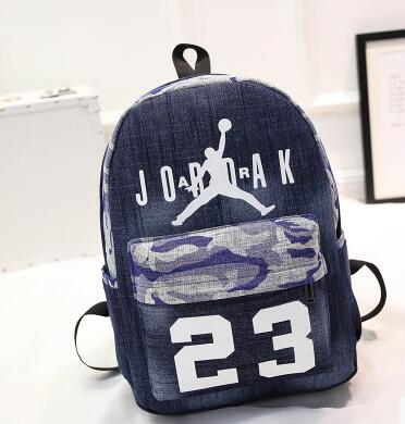 Free Shipping The new fashion Jordan 23 backpack backpack cloth denim bag  canvas bags cartoon jan bags sport backpack d4332eb91ebd4