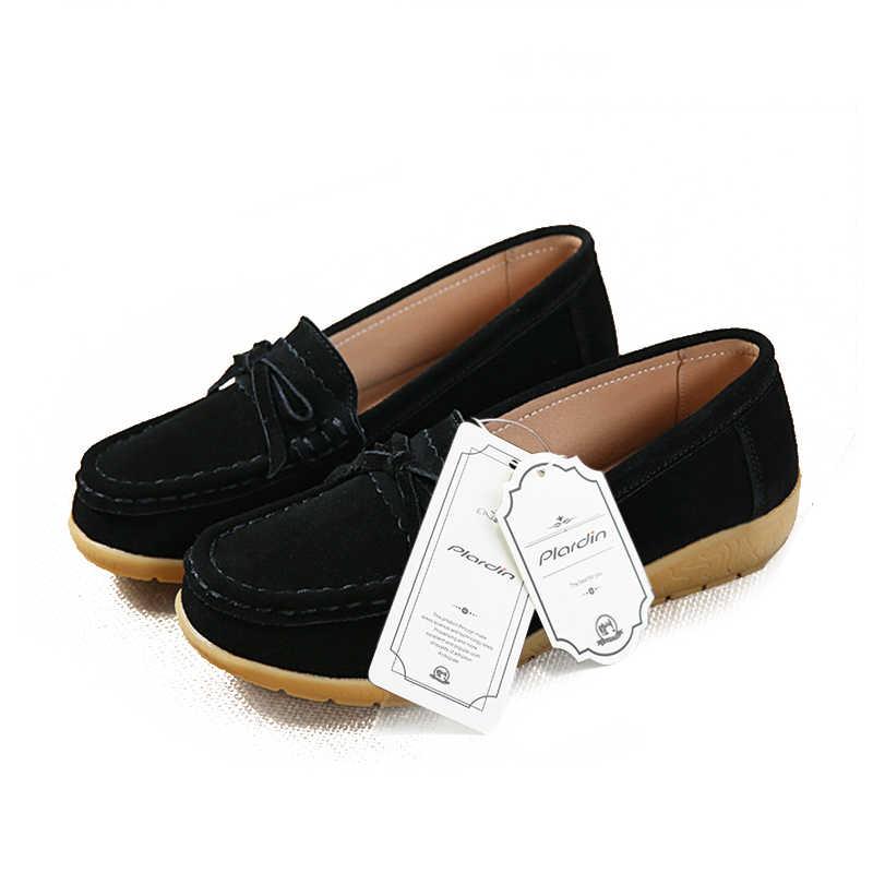 Plardin Plus Size 35-43 Nữ Giày Nữ Giày Đi Dạo Giày Bít Sabo Da Thật Chính Hãng Da Phẳng Nền Tảng Mộc Mạch Trà Nữ Nữ Thời Trang Phụ Nữ