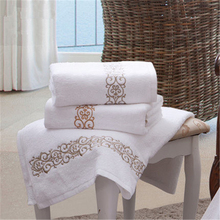 ZZBESTBC 5-star hotel embroidered flower bath towel pure cot