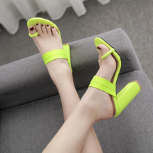 2019 Summer Fashion High Heels Women Slippers Green Square Heel Sandals Open Toe Party Lady Outdoor