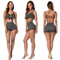 Women Sexy Caged Back Backless Cropped Unpadded Bra Cami Top Bralette High Waist Stretch Shorts Sets Two Piece Set Femininas