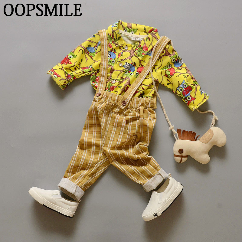 2017 fashion baby boys shirt newborn Long sleeve flower shirt+Suspenders baby boy clothes sets 2PCS suit roupas de bebe
