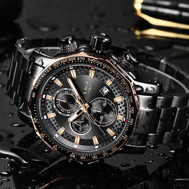 Montre Homme 2019 ליגע חדש ספורט הכרונוגרף Mens שעונים למעלה מותג יוקרה מלא פלדה קוורץ שעון עמיד למים גדול חיוג שעון גברים
