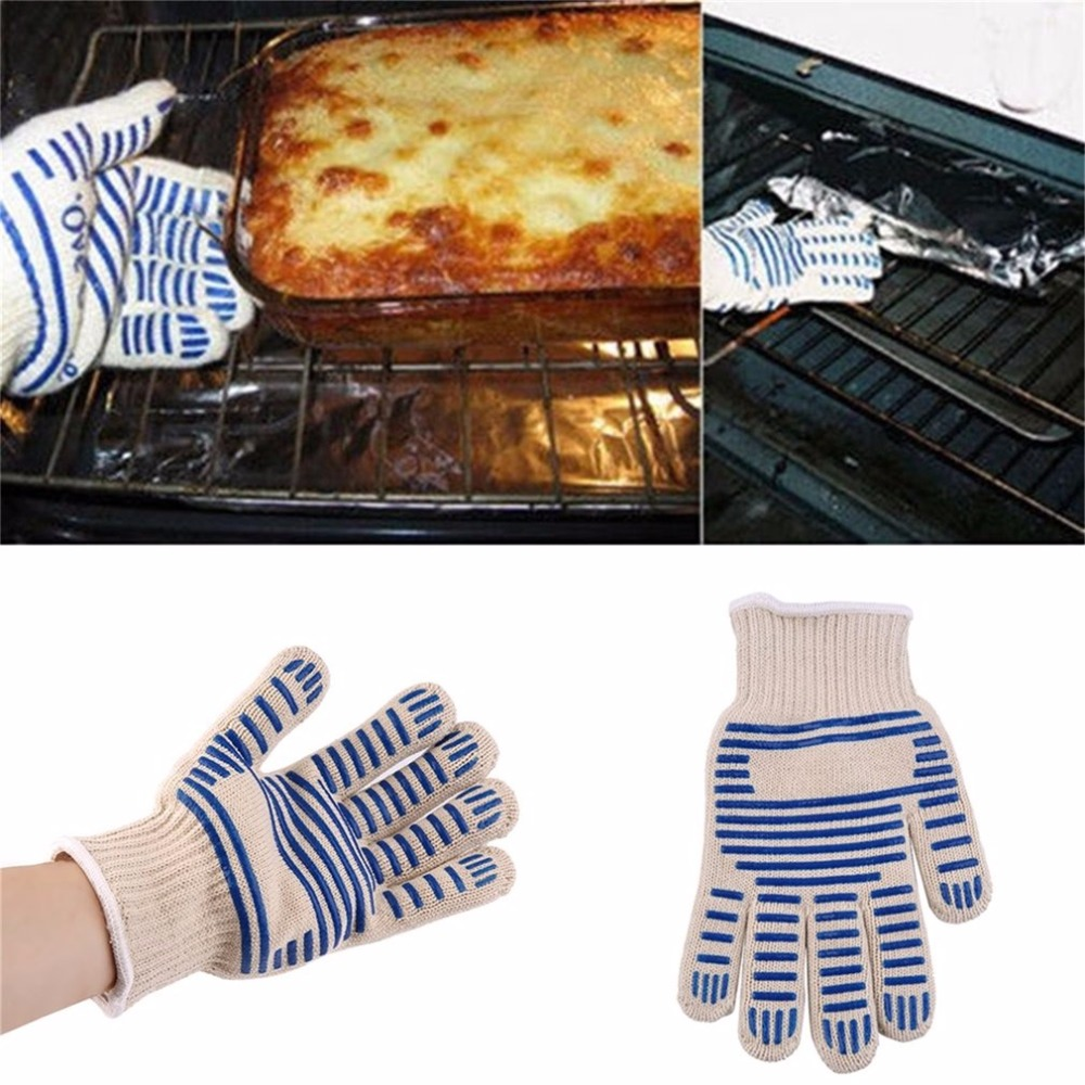 540F Heat Proof Resistant Oven Glove Mitt Burn BBQ Fire Hot Surface Handler(Only one glove, suitable for left and right plaid oven glove