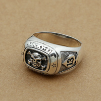 Wholesale fashion jewelry silver S925 silver retro 13 spades lucky men of Pirate Skull Ring