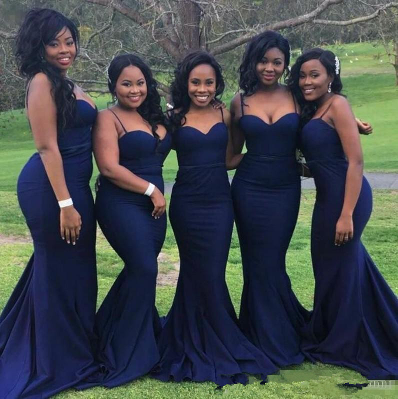 Sexy Navy Blue   Bridesmaid     Dresses   for Wedding Guest Party Cheap Straps with Sweetheart Neck Plus Size Formal Gowns for African