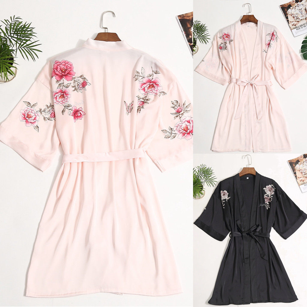 Robe Kimono Summer Bridesmaid Sleepwear Satin Long-Sleeve Wedding-Party Sleepdress Women