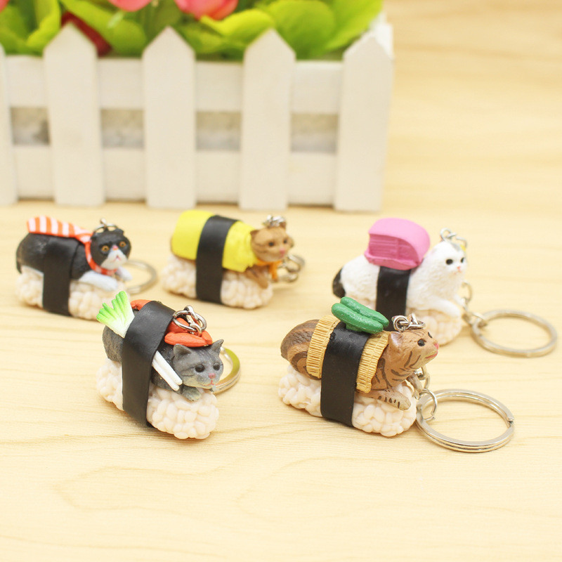 New Design Cute Cartoon Sushi Cat Plastic Keychain For Women Handbag Keyring Jewelry Random send 5pcs mini motorcycle helmet keychain cute keyring