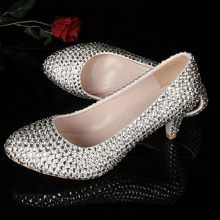 Silver Middle Heel Shoes Prom Party Pumps Stiletto wedding Shoes Discount Bridesmaid Dress Shoes Rhinestone Bridal Shoes
