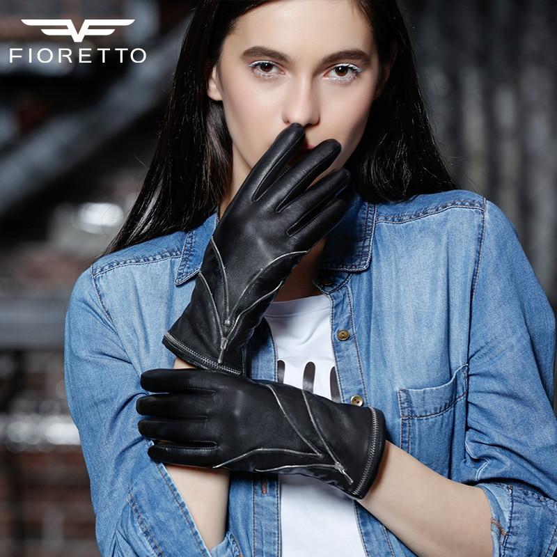 Fioretto marque gants en peau de mouton femmes avec fermeture à glissière en métal décoration gants en cuir véritable dames nouvelles moufles automne hiver