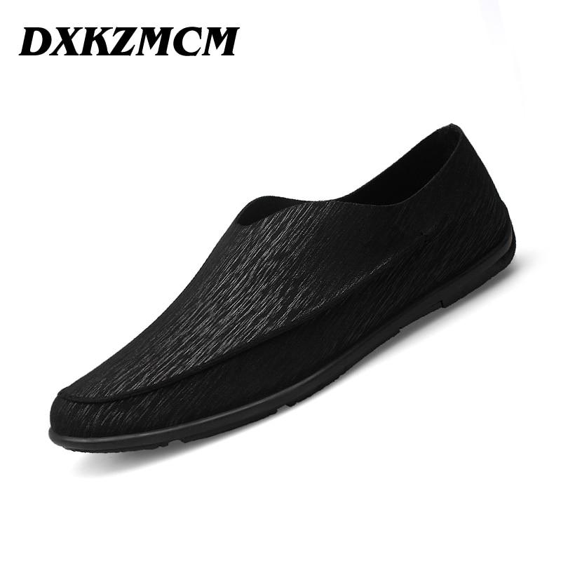 DXKZMCM Verano Zapatos de Los Planos de Los Hombres Mocasines de Cuero Genuino L