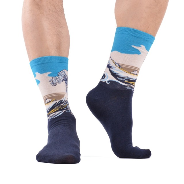 Men's Printed Pattern Socks, 5 Pair