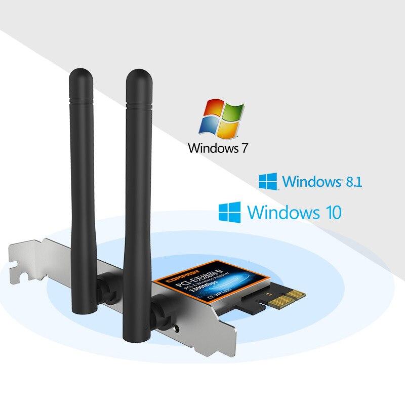 Comfast Cf-Wp1300 haute vitesse 1300 Mbps bureau Pci-E carte réseau sans fil antennes omnidirectionnelles Wifi recevoir R20