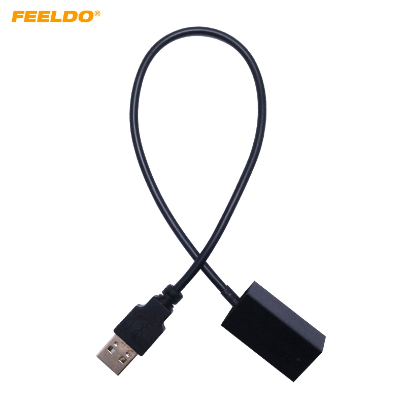 FEELDO 5Pcs USB AUX Extension Adapter Cable Wire For MITSUBISHI Outlander/ASX/Lancer 2009~Onward OEM Head Unit Audio Media Syste