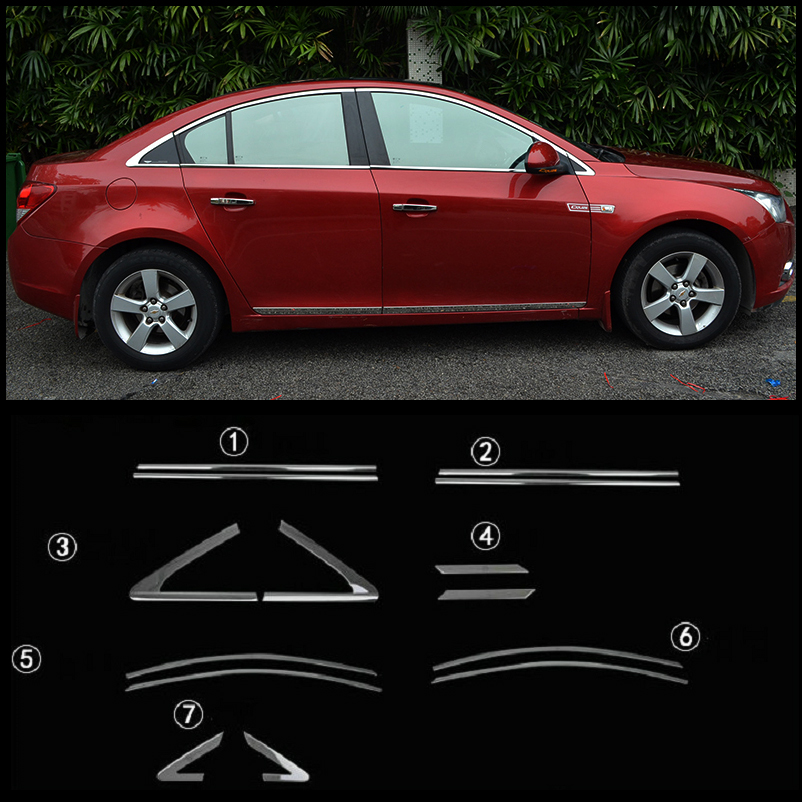 Car Styling The door stainless steel decoration for Chevrolet Cruze 09~14 14p/lot ...