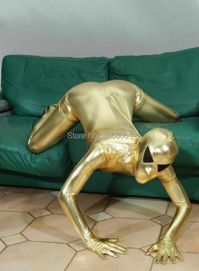 Gold colour cosplay Alien Adults Sexy Shiny Metallic full bodysuit Fancy Tights Clothing open mesh eyes