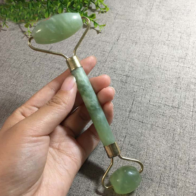 2 in 1 Green Roller and Gua Sha Tools Set by Natural Jade Scraper Massager with Stones for Face Neck Back and Jawline 5