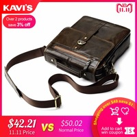 KAVIS 100% Cowhide Genuine Leather Original Messenger   Bag   Men Shoulder Crossbody Handbag Bolsas Sac Sling Chest For Male Small