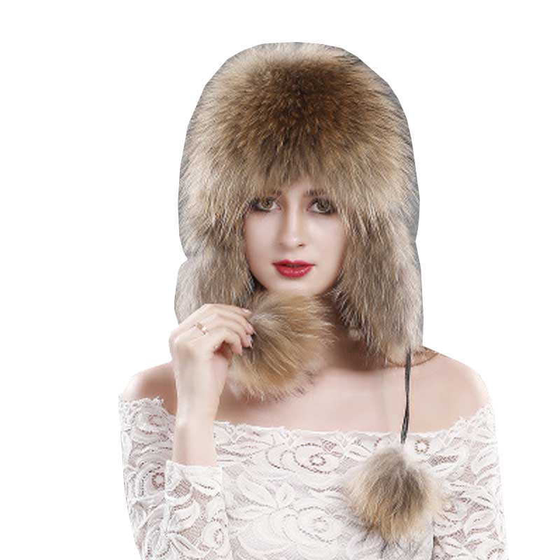 2018 Women Winter Fur Hat Genuine Fox Fur Ears Warm Hats Russian Soft   Beanie   Cap Fashion Female Earflaps   Skullies     Beanies   Caps