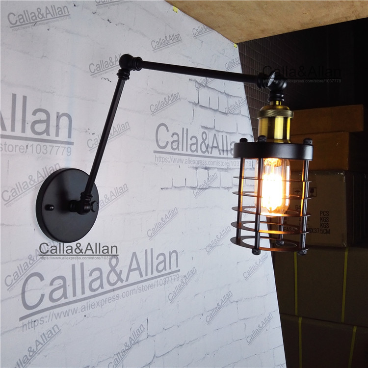 retractable wall sconce Black iron cage wall lamp Loft Vintage Telescopic extend arm wall light swing arm D100mm cage sconce retractable wall sconce iron wall lamp loft vintage telescopic wall sconces extend arm wall light swing arm led light