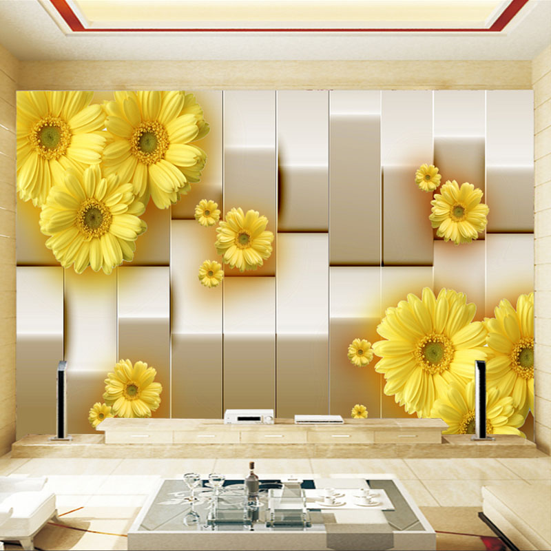 Aangepaste Mural Behang 3D Stereo Gele Chrysant Bloem Woonkamer TV ...