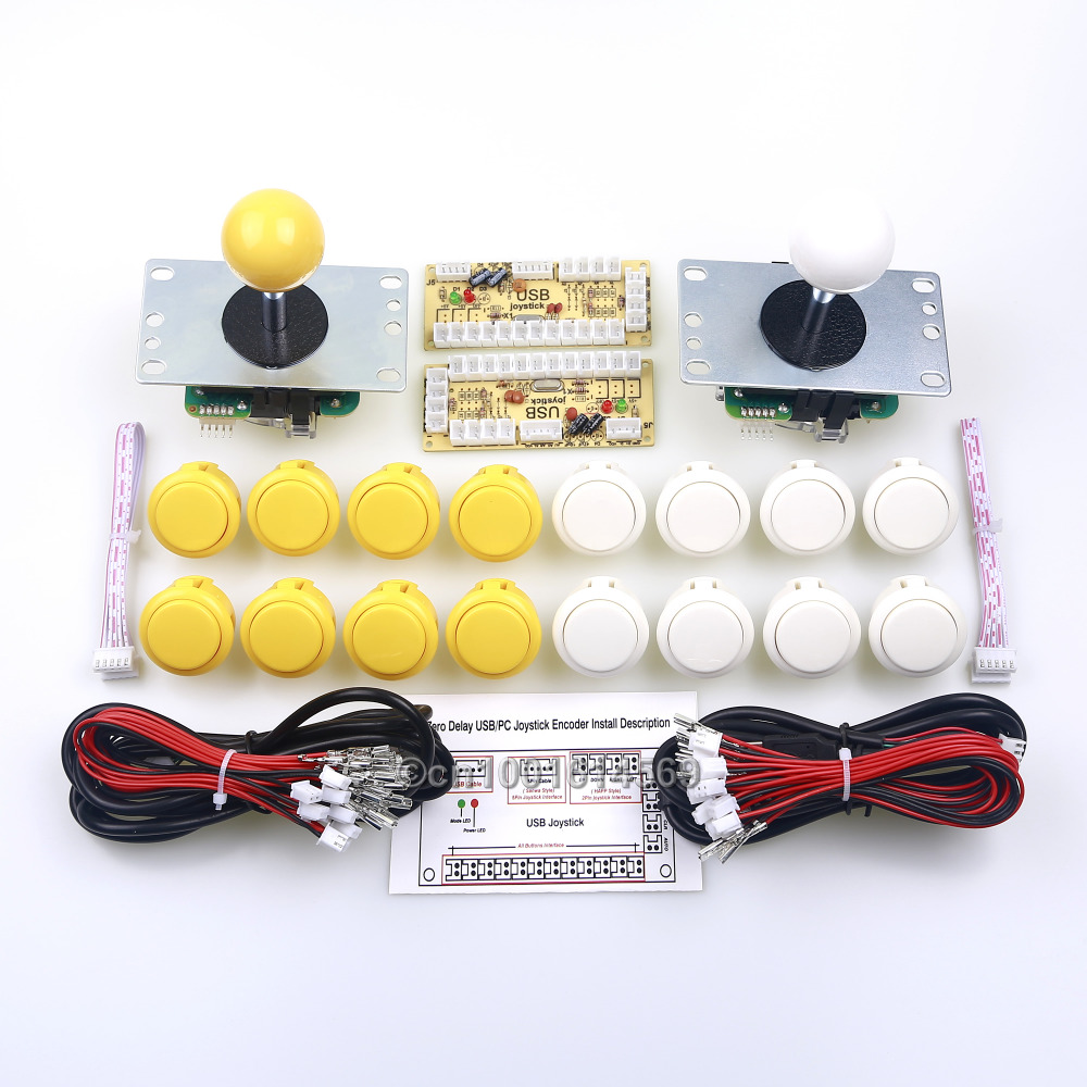 Arcade Sanwa Bundle DIY Kits Parts 16 x Sanwa Button + 2 x Sanwa Joystick + 2 x USB PC Encoder For Arcade Raspberry Pi 2 Project