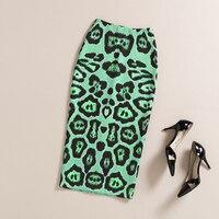 Summer Autumn Pencil Skirt Women High Waist Vintage Elegant Bodycon Green Camel Leopard Print Midi Skirts