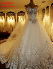 Lebanen Luxury Ball Gown Cathedral Train Rhinestone Sweetheart Lace Wedding Dresses 2016 Long Bridal Gowns vestido de noiva TW1