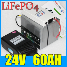 24V 60AH LiFePO4 Battery Pack , 1500W Electric bicycle Scooter lithium battery + BMS Charger Free Shipping