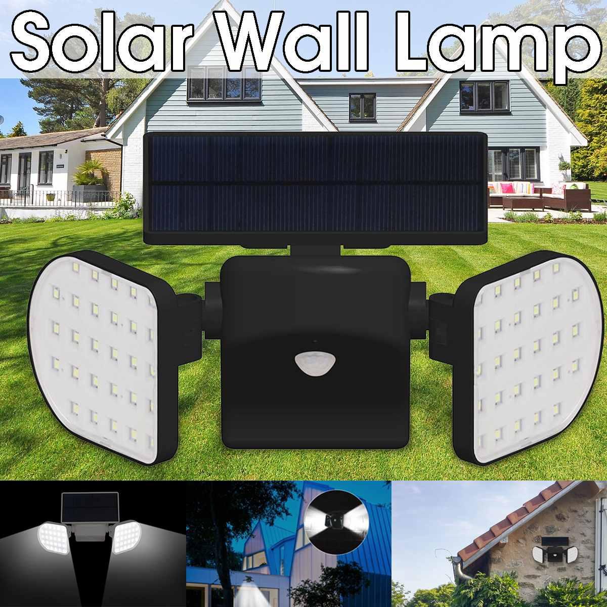 56LED 2 LED Panels 2200mAh IP65 Waterproof 360 Rotatable Solar Lamp Wall Lights PIR Motion Sensor Lamp Security Outdoor Garden