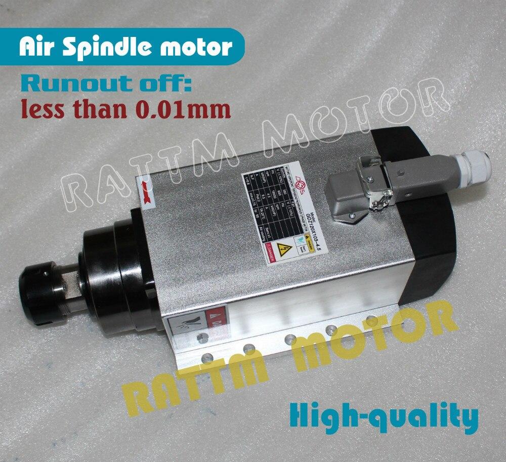 Carré 4.5kw Qualité moteur de broche refroidi par Air ER32 cône de hors 0.01mm, 4 roulement En Céramique, gravure fraisage moudre