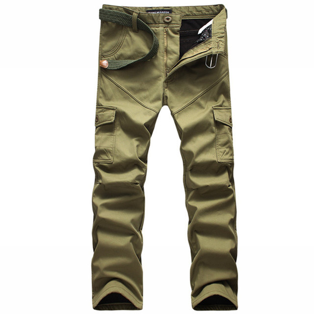 Pant Male Winter Warm Windproof Inner Fleeces Thick Trouser Military Cargo Pants Mens Rompers