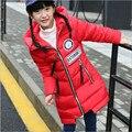 Зимние Девушки Зимние Куртки 2016 Мода Капюшоном Длинный Толстый Теплый Пуховик Дети Вниз и Парки Для 6-13 год