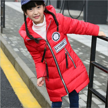 Winter Girls Winter Jackets 2017 Fashion Hooded Long Thick Warm Down Coat Children Down & Parkas For 6-13 year