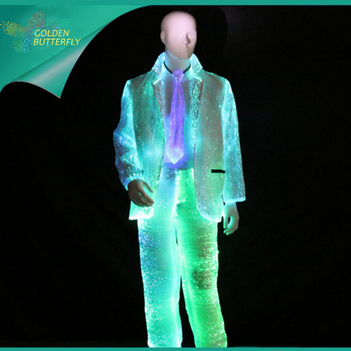 LED Suits Glowing Coat And Pants 2017 Fashion Luminous Suit Fiber Clothe Glowing Evening Clothes For Men Dance Clothes
