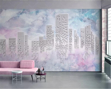 Beibehang Custom Wallpaper Watercolor background 3d abstract geometric city tv background wall papel de parede 3D wall paper недорого