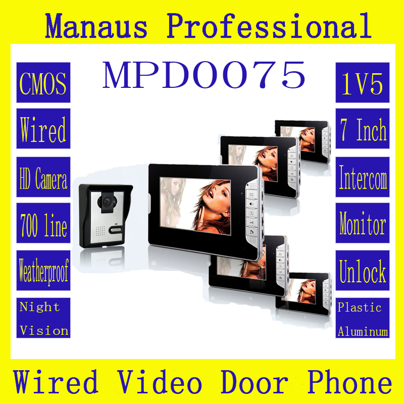 High Quality Professional Smart Home 7 inch Screen Touch Video Intercom Phone,One to Five Video Doorphone Kit Configuration D75b